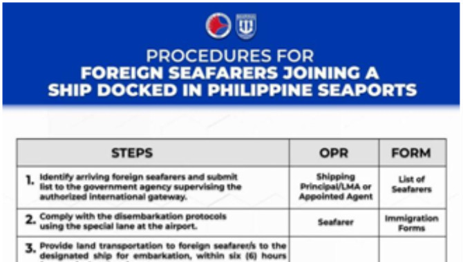 Manila Foreign Crew Change Updated Procedures