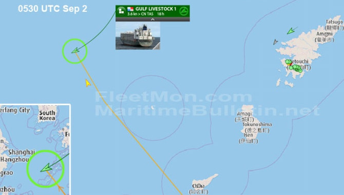 Livestock carrier in load with 43 crew missing