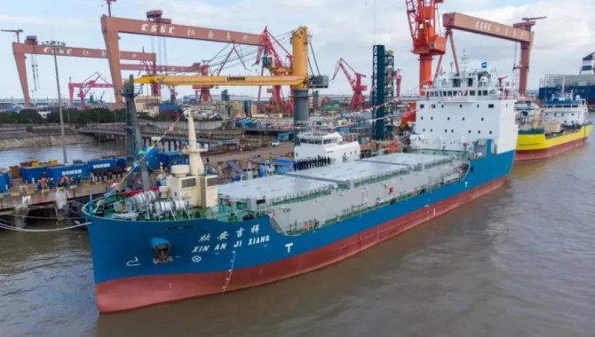 China's first spent fuel transportation ship delive